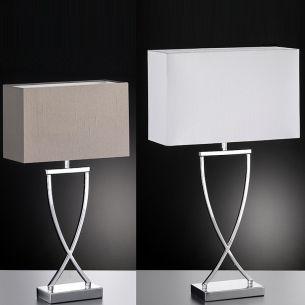 Tischleuchte mit Schirm in Weiß oder Cappuccino, Leuchtenfuß Chrom glänzend