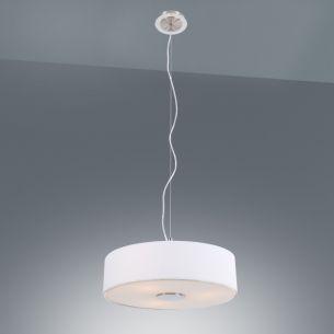 Moderne Pendelleuchte - Stoffschirm in Weiß stahlfarbig/weiß