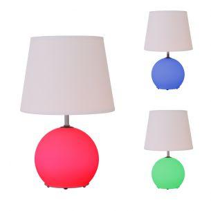 Tischleuchte mit E14 Sockel und zuschaltbarer RGB-LED (Farbwechsel), getrennt schaltbar