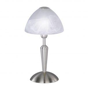 Moderne Tischleuchte in Nickelmatt mit Alabaster-Glas