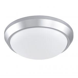 LED-Deckenleuchte in Silber mit weißem Opalschirm - 33 cm Durchmesser
