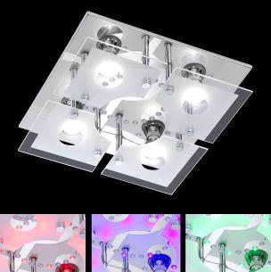 LED-Deckenleuchte in Chrom mit Farbwechsel inklusive Leuchtmittel und Fernbedienung
