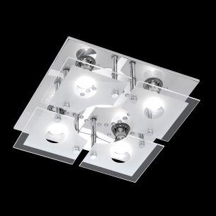 LED-Deckenleuchte in Chrom mit getrenntschaltbaren LEDs - inklusive Leuchtmittel und Fernbedienung
