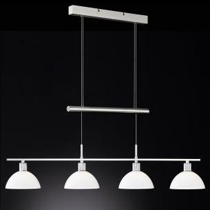 LED-Zugpendelleuchte Länge 105cm, höhenverstellbar, 4x5 Watt LED warmweiß 3000K, je 340lm, in Nickel matt