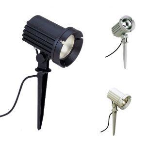 Erdspießstrahler aus Aluminiumguss in Schwarz, Weiß oder Silber - für Metalldampflampen - IP 54