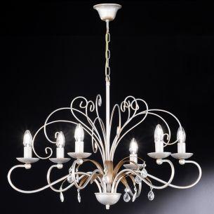 6 flammige Krone Ø 78cm mit zarter Farbgebung in Gold und Silber, klare Glasprismen