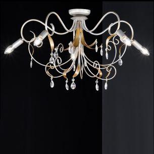 5 flammige Deckenkrone Ø 78cm mit zarter Farbgebung in Gold und Silber, klare Glasprismen