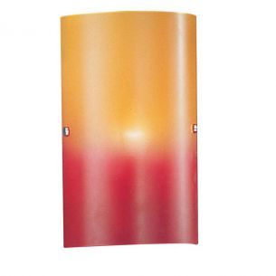 Wandleuchte mit rot-orangem Glas