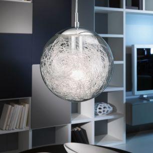 Kugel-Pendel: Aluminiumdrähte in Klarglaskugel mit Aufhängung in Chrom