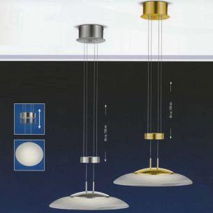 Höhenverstellbare LED-Pendelleuchte Ø 42cm, in Messing oder Nickel, 1x39Watt, LED warmweiß 3000K, 3700lm