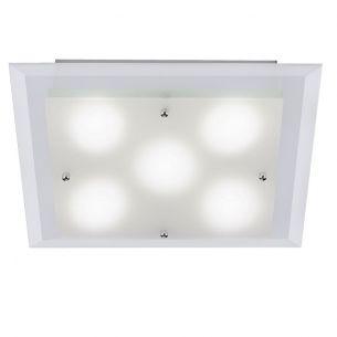 Zeitlose LED Deckenleuchte - Chrom - Glas klar und satiniert - 5-flammig + LED Taschenlampe