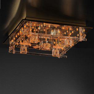Deckenleuchte 50x50cm in Messing-poliert, inklusive Halogen und LED-Leuchtmittel, Steuerung per Fernbedienung