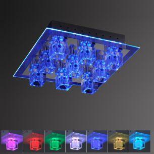 Kristall-Deckenleuchte 35x35cm in Chrom, inklusive Halogen und LED-Leuchtmittel RGB-Farbwechsel, Steuerung per Fernbedienung