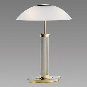 B+M Tischleuchte mit Tastdimmer in Messing-poliert / Nickel-matt, Glas weiß - Höhe 40cm