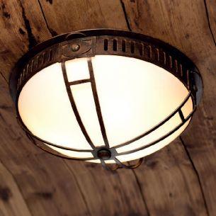 Deckenleuchte mit Opalglas und Patina-Lackierung - Ø42cm
