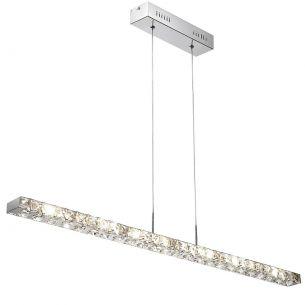 Schmuckstück-LED-Pendelleuchte, Chrom und geschliffenes Glas, inklusive 18x1Watt LED, 3500°K , neutralweiß