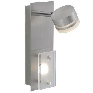 LED-Wandleuchte mit Schwenkspot in stahlfarbig, inklusive 2 x 3,3 Watt LED, Lichtfarbe 3000°K warmweiß