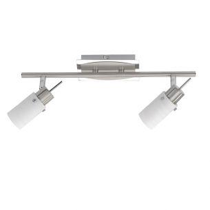 LED-Leuchte in Nickel matt-Glas gewischt,  inklusive GU10 2x4Watt , warmweiße Lichtfarbe, 3000°K