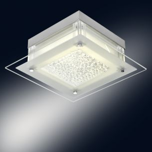 Moderne LED-Deckenleuchte aus weißem Metall mit satiniertem Glas und funkelnen Kristallen, 3 Größen wählbar