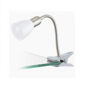Schwenkbare LED-Klemmleuchte aus Stahl und Kunstsoff in silber und weiß