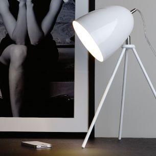 Elegante Tischeuchte aus verchomtem und weißem Stahl
