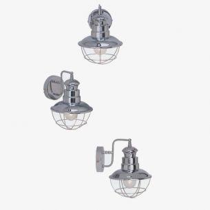 Maritime Wandleuchte mit Stoßschutzgitter in Chrom, dekorativ und funktional