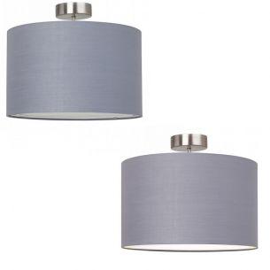 Deckenleuchte mit rundem Stoffschirm, Leuchtenschirm wählbar in 3 tollen Farben