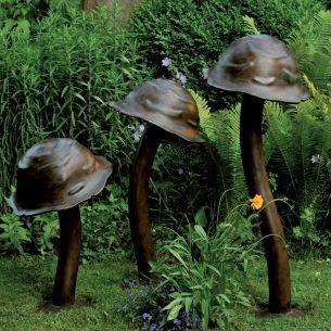 Dekorative Wegeleuchte in schicker Pilzform - 3 verschiedene Größen wählbar - handgeschmiedet mit Patina-Lackierung