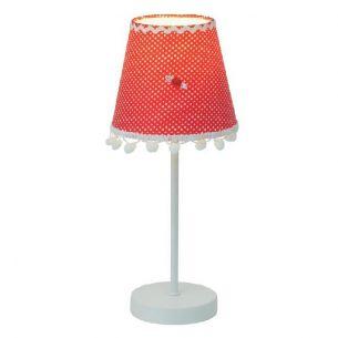 Tischleuchte, Rotes Schirmchen mit weißen Punkten - Höhe 34cm,  Ø 14cm