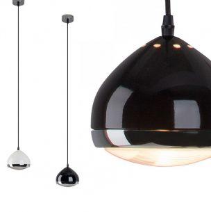 1 flammige Pendelleuchte in Scheinwerfer-Optik glänzend in Schwarz - Chrom oder Weiß - Chrom lieferbar