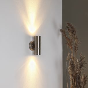 Edelstahl Wandleuchte mit tollem Lichteffekt, 2 x 35 Watt