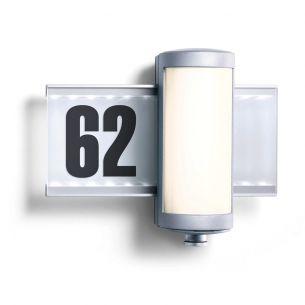 LED-Hausnummernleuchte aus weißem Opalglas mit Infrarot-Sensor - inklusive Klebenummern und Leuchtmittel