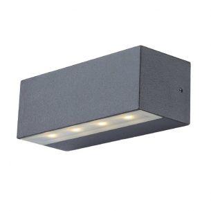 LED-Außenwandleuchte Alu grau, Glas satiniert, IP44, inkl. 8 x LED 0,5W 200lm, 3000K, up&down