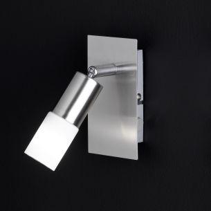 Nickel-matter LED-Strahler mit Schalter - 1-flammig -Glas weiß-satiniert - inklusive 1x E14 LED 3W je 260lm