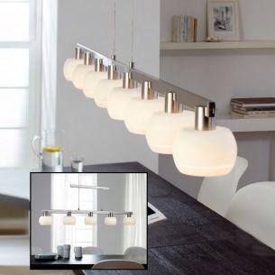 5- oder 8-flammige höhenverstellbare LED-Pendelleuchte in Nickel-matt / Chrom - Glas weiß mit satinierter Einkerbung