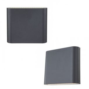 Up & Down LED-Außenwandleuchte Alu grau, Glas satiniert, IP44, inkl. 2 x 15 x LED 0,2W 330lm, 3000K