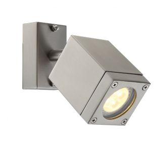 Schwenkbarer LED-Wandspot aus Edelstahl, Glas klar, IP44, inklusive 1 x GU10 - 4,5Watt LED, warmweiß 3000°K