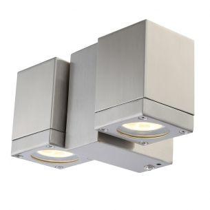 Schwenkbarer LED-Wandspot aus Edelstahl, Glas klar, IP44, inklusive 2 x GU10 - 4,5Watt LED, warmweiß 3000°K