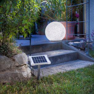 Solar LED Leuchtkugel, witterungsbeständiger Kunststoff im Steindesign
