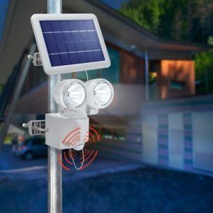 Solar PIR-Wandstrahler-Duo, Lichtstärke 2 x 115 lm mit Bewegungssensor 90°, 6 Meter, Kunststoff  Weiß, IP44
