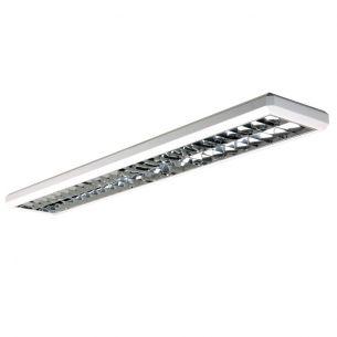 2-flammige Raster-Aufbauleuchte in Weiß für 2x T5 35W Leuchtstoffröhre - Länge 153cm