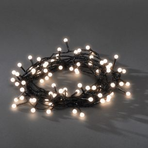 LED Lichterkette für Außen, 80 runde Dioden warm weiß schwarz/warmweiß