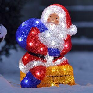 LED-Weihnachtsmann mit Schornstein- Acryl - Für den Außenbereich - 48 kalt weiße LED-Dioden - Inklusive 24 V Außentrafo