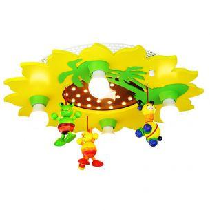 Süße Kinderzimmer-Deckenleuchte in Sonnenform mit Palmen und niedlichem Mobile