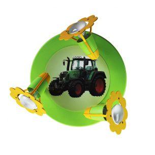 Verspielte Deckenleuchte für das Kinderzimmer mit Traktor in grün und schwarz