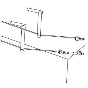 1 Paar Umlenker/Abhängung für Halogen 12Volt-Seilsysteme, Höhe wählbar , Chrom matt