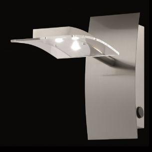 LED-Wandleuchte mit Schalter, in Nickel-matt, 2 x 3,2Watt, 3000°K, je 209lm