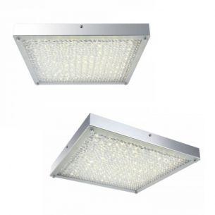 Rechteckige LED-Deckenleuchte - Chrom - Kristall - 2 Größen wählbar