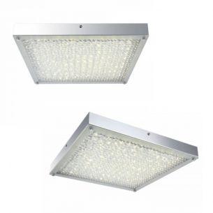 Rechteckige LED Deckenleuchte - Chrom - Kristall - 40cm x 40cm, 1 x 20W, 2236lm, inklusive LED- Taschenlampe