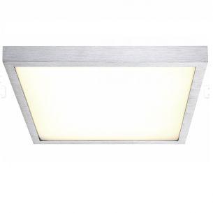 LED-Deckenleuchte - Aluminium gebürstet mit weißem Kunststoffglas, 4 Größen wählbar